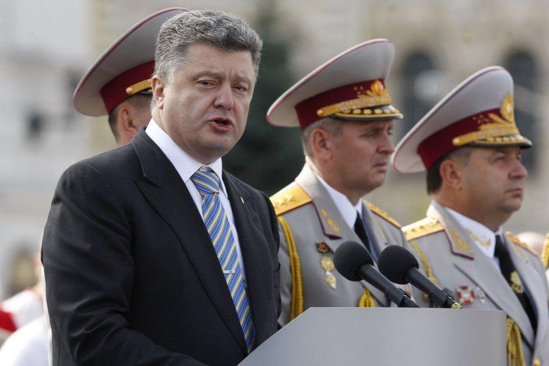 Ukrainian President Petro Poroshenko, pictured on August 24, announced a cease-fire agreement with Russian-backed separatists in eastern Ukraine on September 5, 2014. (UPI/Ivan Vakolenko)