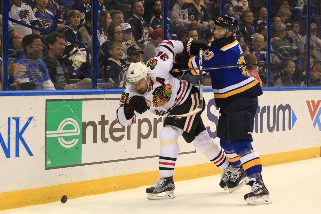Chicago's Michal Rozsival had surgery Tuesday to repair facial fractures suffered in a Thursday fight. File photo by Bill Greenblatt/UPI