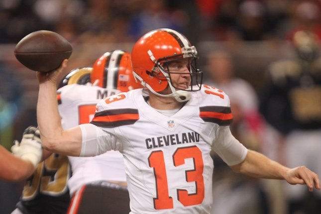 Former Cleveland Browns quarterback Josh McCown passes the football against the Los Angeles Rams in the first quarter. McCown joined the New York Jets this season, and is trying to earn the opening-day starter job for the Jets. File photo by Bill Greenblatt/UPI