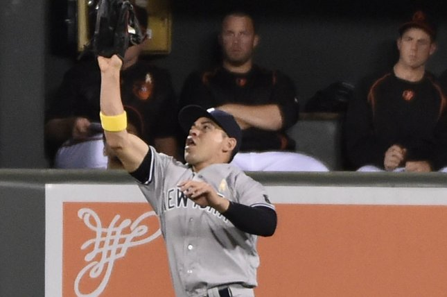 New York Yankees center fielder Jacoby Ellsbury fields a fly ball. File photo by David Tulis/UPI
