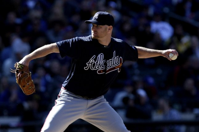 Former Atlanta Braves and current Tampa Bay Rays pitcher Jonny Venters throws a pitch in the eighth inning against the New York Mets on April 5, 2012 at Citi Field in New York City. File photo by John Angelillo/UPI