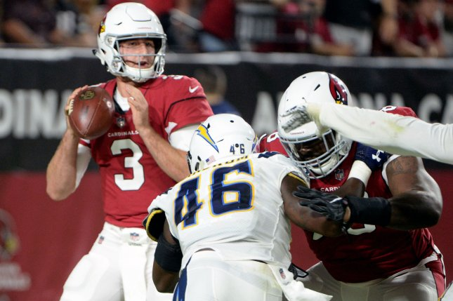 Arizona Cardinals rookie quarterback Josh Rosen looks to pass in the second quarter of a game against the Los Angeles Chargers on August 11 at University of Phoenix Stadium. Photo by Art Foxall/UPI