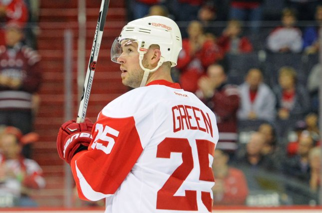 Detroit Red Wings defenseman Mike Green (25) missed the first nine games of the year with the same illness that will end his season. File Photo by Mark Goldman/UPI