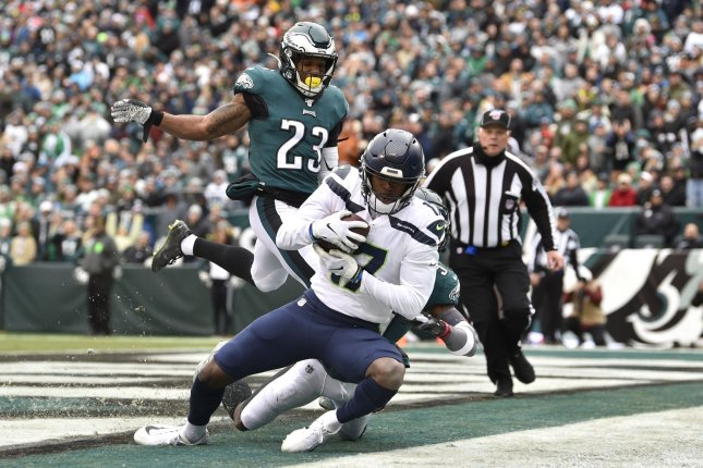 Seattle Seahawks wide receiver Malik Turner (17) catches the ball for a touchdown during the first half against the Philadelphia Eagles on Sunday at Lincoln Financial Field in Philadelphia. Photo by Derik Hamilton/UPI