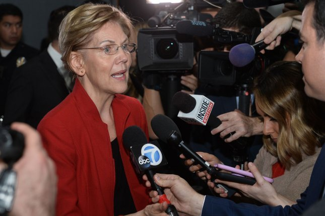 Democratic presidential candidate Elizabeth Warren speaks to the press after a primary debate in Los Angeles, Calif., on December 19, 2019. File Photo by Jim Ruymen/UPI