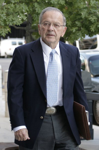 Senator Ted Stevens (R-AK) arrives at the U.S. District Court in Washington on October 20, 2008, where his trial on corruption charges moves into its closing stages. (UPI Photo/Yuri Gripas)