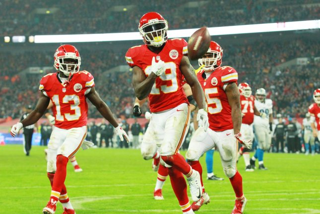 Kansas City Chiefs Wide Receiver Jeremy Maclin scores a touchdown during an International NFL series match against the Detroit Lions at Wembley London on November 1st, 2015. Photo by Sean Dempsey/UPI.