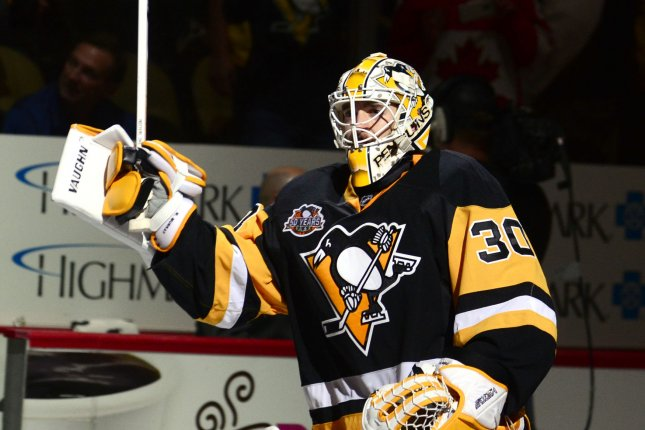 Pittsburgh Penguins goalie Matt Murray (30) waits in crease during a stoppage in play. File photo by Archie Carpenter/UPI