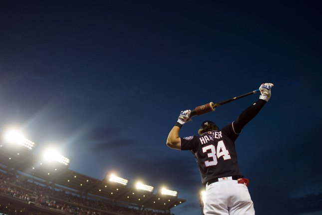 Washington Nationals right fielder Bryce Harper (34) prepares to bat against the Atlanta Braves in the 7th inning at Nationals Park in Washington, D.C. on July 7, 2017. File photo by Kevin Dietsch/UPI