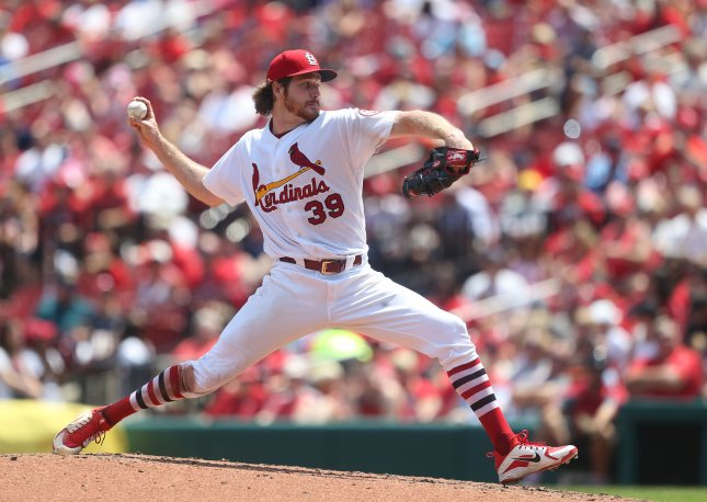Miles Mikolas and the St. Lousi Cardinals face the Colorado Rockies on Friday. Photo by Bill Greenblatt/UPI