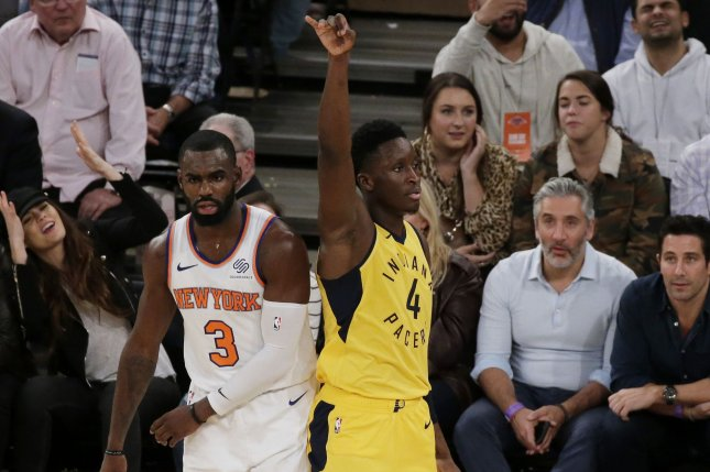 Indiana Pacers guard Victor Oladipo (R) makes a basket in the fourth quarter on October 31 at Madison Square Garden in New York City. Photo by John Angelillo/UPI