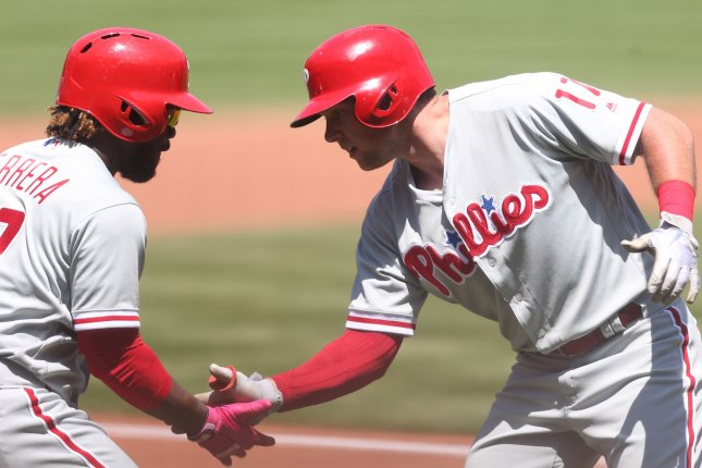 Philadelphia Phillies first baseman Rhys Hoskins (R) hit the only home run in a win against the New York Mets on Wednesday in Queens. Photo by Bill Greenblatt/UPI