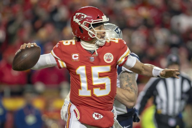 Patrick Mahomes throws football out of Arrowhead Stadium