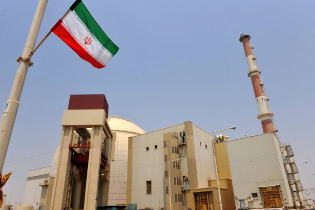 Iran's national flag hangs outside of a nuclear facility in Bushehr, Iran. File Photo by Maryam Rahmanianon/UPI