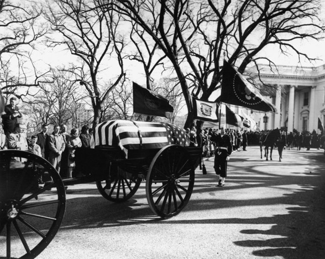 The funeral procession for President John F. Kennedy leaves the White House for St. Matthew's Cathedral in Washington on November 25, 1963. (UPI Photo/Abbie Rowe/John F. Kennedy Presidential Library & Museum)