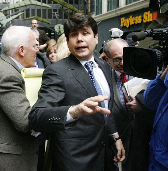 Former Illinois Gov. Rod Blagojevich leaves Federal Court after a hearing in his criminal case in Chicago on April 21, 2009. U.S. District Judge James Zagel refused to modify terms of Blagojevich's bail to allow him to travel to Costa Rica to star in a reality television show. (UPI Photo/Brian Kersey)