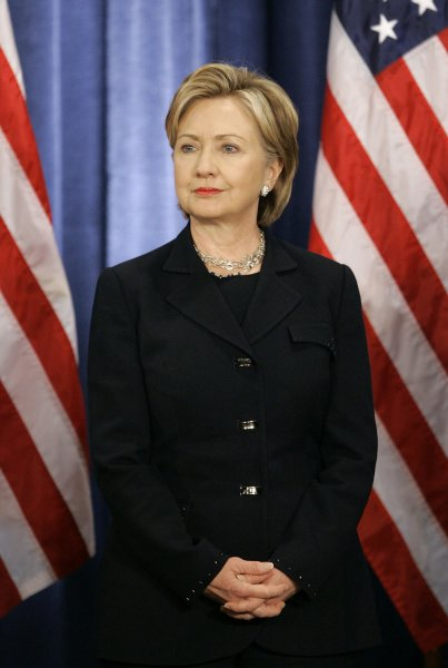 Secretary of State designee Sen. Hillary Clinton (D-NY) stands during a news conference at which President-elect Barack Obama announced his national security team on December 1, 2008 in Chicago. In addition to Clinton, Obama also named Arizona Gov. Janet Nepolitano as homeland security secretary, ret. Marine Gen. James L. Jones as national security advisor, Susan Rice as ambassador to the United Nations, Eric Holder as attorney general and announced that Robert Gates, the current Secretary of Defense, will stay on in his post under the new administration. (UPI Photo/Brian Kersey)