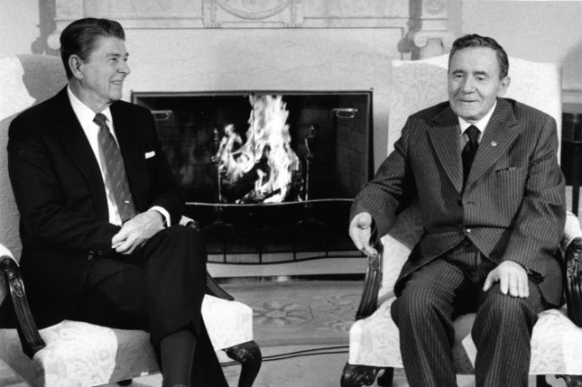 President Ronald Reagan and Soviet Foreign Minister Andrei Gromyko meet at the White House on September 28, 1984. (UPI Photo/Tim Clary/Files)