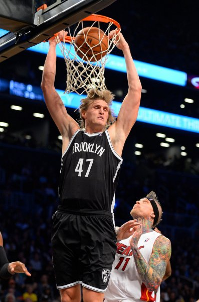 Andrei Kirilenko (47) dunks while on a fast break as a member of the Brooklyn Nets. He announced his retirement in June. Thus far, Kirilenko is the only candidate for Tuesday's election to become president of the Russian Basketball Federation. File photo by Rich Kane/UPI