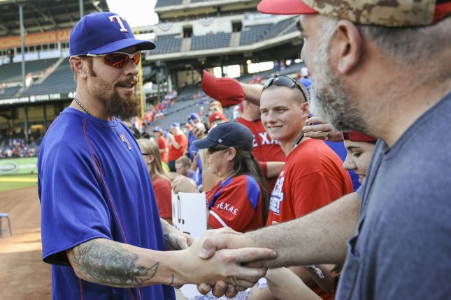 Texas Rangers' Josh Hamilton greets fans prior to the Rangers playing the Toronto Blue Jays in game 3 of the ALDS at Rangers Ballpark in Arlington, Texas on October 11, 2015. Photo by Michael Prengler/UPI