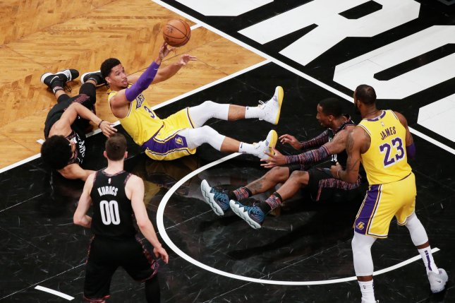 Los Angeles Lakers guard Josh Hart (3) will be out until after the All-Star break after receiving a PRP injection in his knee Monday. File Photo by John Angelillo/UPI