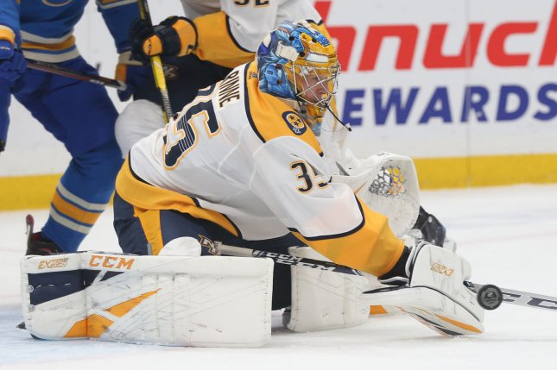 Nashville Predators goaltender Pekka Rinne denied Toronto Maple Leafs forward John Tavares for a highlight-reel save Tuesday night. File Photo by Bill Greenblatt/UPI