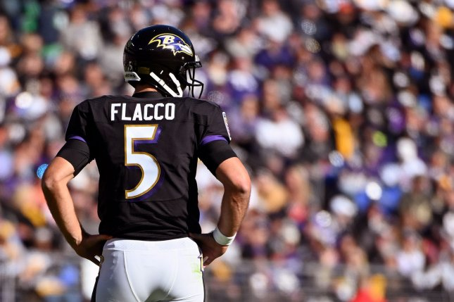 Former Baltimore Ravens quarterback Joe Flacco (5) faced the Denver Broncos' defense for the first time as a member of the team in organized team activities Monday. File Photo by Kevin Dietsch/UPI