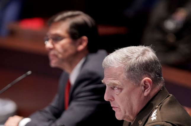 Secretary of Defense Mark Esper and Joint Chiefs Chairman Gen. Mark Milley appear before the House Armed Services Committee hearing to discuss the Department of Defense in civilian law enforcement on Capitol Hill in Washington, DC in July. Pool Photo by Greg Nash/UPI