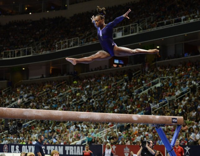 Elizabeth Price leaps on the beam at the US Olympic trials in gymnastics at HP Pavilion in San Jose, California on July 1, 2012. UPI/Terry Schmitt