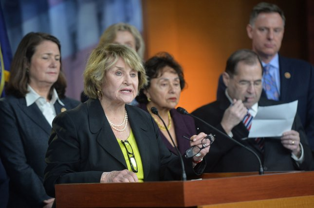 Rep. Louise Slaughter (D-NY), joined by fellow House democrats, speaks at a press conference on the Supreme Court case on the birth control mandate of the Affordable Care Act, in Washington, D.C. on March 25, 2014. UPI/Kevin Dietsch