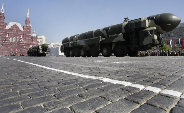 Russian Topol-M intercontinental ballistic missile launchers drive during the Victory Day military parade in Red Square in Moscow. File Photo by Anatoli Zhdanov/UPI.
