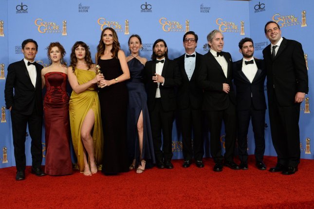 From left, actors Gael Garcia Bernal, Bernadette Peters, Lola Kirke, Saffron Burrows, Jason Schwartzman, and the team from 'Mozart in the Jungle', winners of the award for Best Television Series - Musical or Comedy appear backstage during the 73rd annual Golden Globe Awards at the Beverly Hilton Hotel in Beverly Hills, California on January 10, 2016. Photo by Jim Ruymen/UPI
