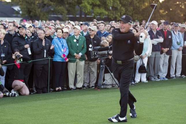 Golf legend Gary Player hits the ceremonial first tee shot on the first day of the 2017 Masters Tournament at Augusta National Golf Club in Augusta, Georgia on April 6, 2017. Player says his British Senior titles should count as majors. File photo by Kevin Dietsch/UPI