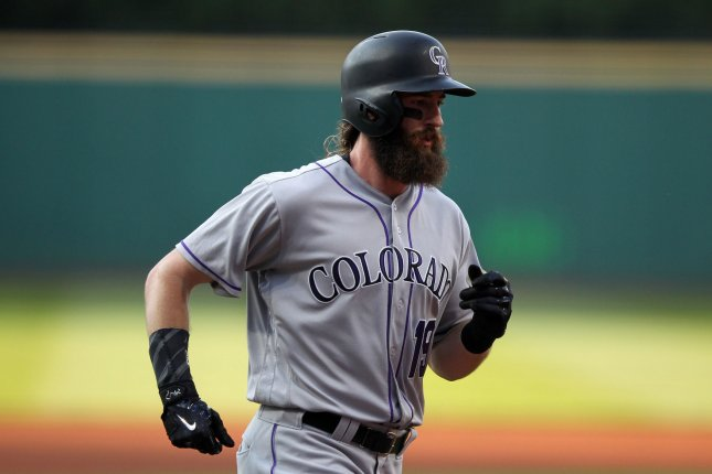 Charlie Blackmon and the Colorado Rockies raced past the Milwaukee Brewers on Friday. Photo by Aaron Josefczyk/UPI