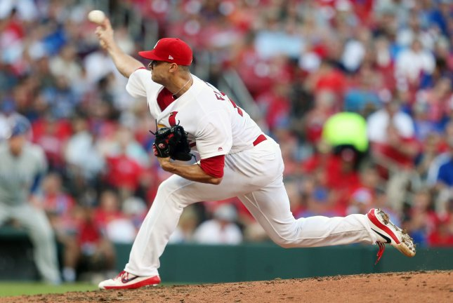 St. Louis Cardinals starting pitcher Jack Flaherty had a no-hitter with two outs in the sixth inning before it was broken up by the Chicago Cubs' Nick Castellanos Thursday in St. Louis. Photo by Bill Greenblatt/UPI