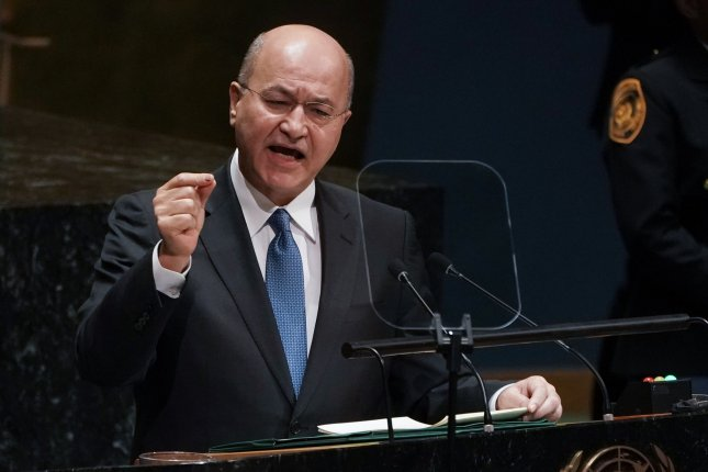 Iraqi President Barham Salih, seen here at the United Nations in September, denounced weekend U.S. air strikes targeting Iran-backed Iraqi militias. File photo by Jemal Countess/UPI
