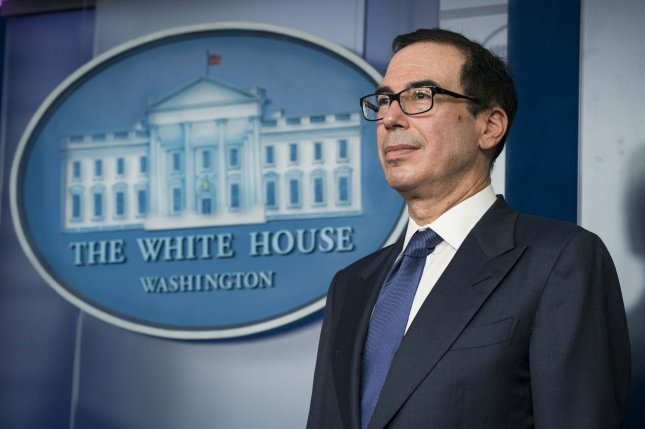 Treasury Secretary Steven Mnuchin appears at the White Houseon March 25 during a briefing of the president's Coronavirus Task Force. File Photo by Sarah Silbiger/UPI