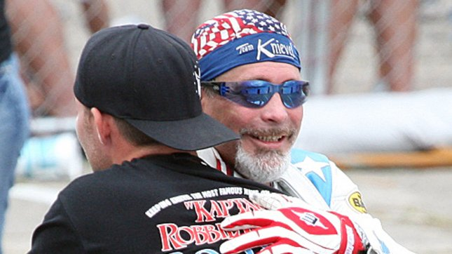Daredevil Robbie Knievel (R) was arrested for a DUI in South Dakota. Here the cyclist hugs a teammate after jumping over 25 cars on his motorcycle at Six Flags Over Mid America in Eureka, Missouri on July 3, 2008. Knievel was successful with his attempt jumping nearly 200 feet. (UPI Photo/Bill Greenblatt)