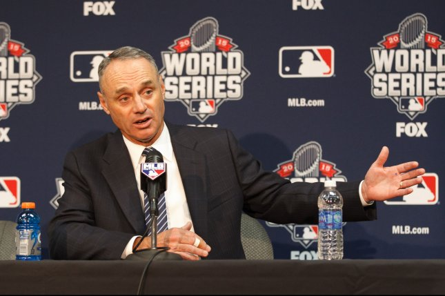 Commissioner Robert D. Manfred, Jr. speaks to the media during a press availability prior to game 1 of the World Series at Kauffman Stadium in Kansas City, Missouri on October 26, 2015. UPI/Jeff Moffett