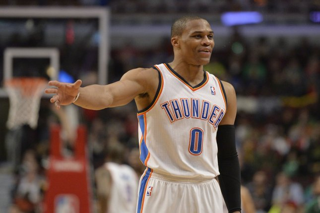 Oklahoma City Thunder guard Russell Westbrook, spearheaded by his 27th triple-double, led Oklahoma City to a win 116-105 over the New York Knicks at the Chesapeake Energy Arena. The Thunder defeated the Bulls 97-85. File Photo by Brian Kersey/UPI