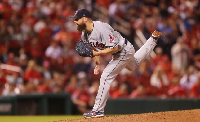 Corey Kluber and the Cleveland Indians take on the Cincinnati Reds on Tuesday. Photo by Bill Greenblatt/UPI