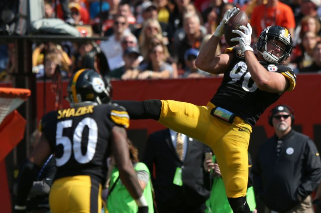 Pittsburgh Steelers linebacker T.J. Watt (90) intercepts a pass against the Cleveland Browns during the second half on September 10, 2017 at First Energy Stadium in Cleveland. Photo by Aaron Josefczyk/UPI