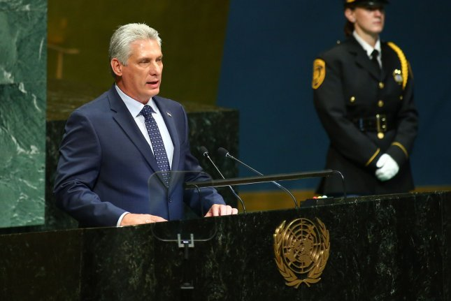 Cuban President Miguel Díaz-Canel speaks at the 73rd General Debate at the United Nations General Assembly at United Nations Headquarters in New York City on September 26, 2018. Photo by Monika Graff/UPI