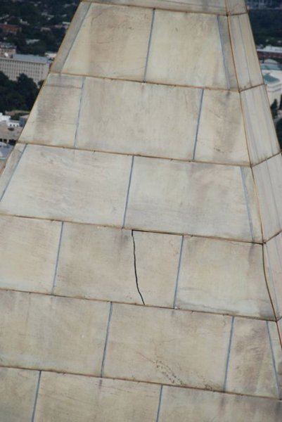 This image released by the National Park Service on August 24, 2011 shows a crack on the top of the Washington Monument that was a result of the 5.8 magnitude that struck the Washington area on August, 23. The Monument will be closed indefinitely as repairs are completed. UPI/U.S. Park Service