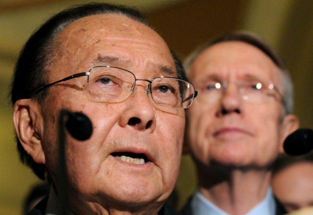 Sen. Daniel Inouye (D-HI) speaks alongside Senate Majority Leader Harry Reid (D-NV) after the Senate and House reached an agreement on the $789 billion economic stimulus package on Capitol Hill in Washington on February 11, 2009. The bill includes increased unemployment benefits, money for states that face budget deficits and preserves President Obama's requested tax cut. Both Houses are expected to vote on the new package in the coming days. (UPI Photo/Kevin Dietsch)