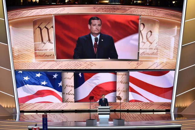 Texas Sen. Ted Cruz speaks at the Republican National Convention at Quicken Loans Arena in Cleveland. Cruz declined to endorse Trump during his speech and was booed loudly by some delegates at the convention. Photo by Kevin Dietsch/UPI