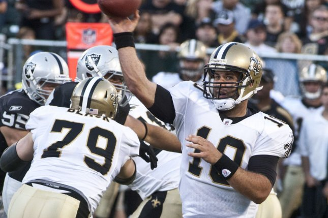 New Orleans Saints QB Chase Daniel throws a pass against the Oakland Raiders at the Coliseum in Oakland, California. File photo by Terry Schmitt/UPI