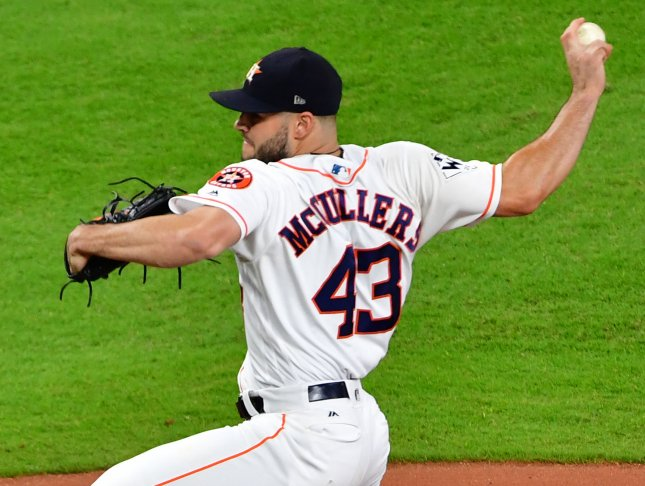 Lance McCullers Jr. and the Houston Astros host the Boston Red Sox on Thursday. Photo by Kevin Dietsch/UPI