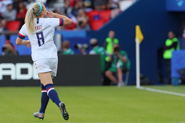 Julie Ertz made her 100th appearance for the United States Women's National Team Sunday in Harrison, N.J. File Photo by David Silpa/UPI