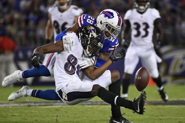 Buffalo Bills cornerback E.J. Gaines (28) missed all of last season after suffering a core muscle injury in training camp. File Photo by David Tulis/UPI